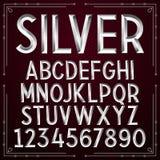 Vector Silver Embossed Font. On dark background royalty free illustration