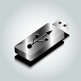 Vector silver flash drive stick Royalty Free Stock Images