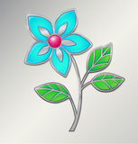 Vector silver flower. Enamel in silver frame Royalty Free Stock Images