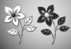 Vector silver flowers. Enamel in silver frame. EPS10 vector illustration. Contains transparency and gradients Stock Image