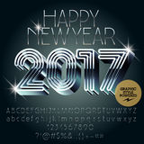 Vector silver futuristic Happy New Year 2017 greeting card Stock Image