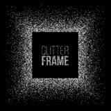 Vector silver glitter frame. Square frame made of silver glitter isolated on black background. Vector silver glitter frame. Square frame made of silver glitter Royalty Free Stock Photo