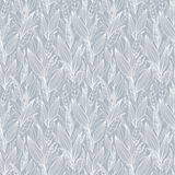 Vector Silver Grey Detailed Leaves Seamless Pattern Texture. Great for backgrounds, wallpaper, fabric, wedding Stock Image