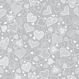 Vector Silver Grey Doodle Hearts Seamless Pattern Design Perfect for Valentine s Day cards, fabric, scrapbooking Royalty Free Stock Images