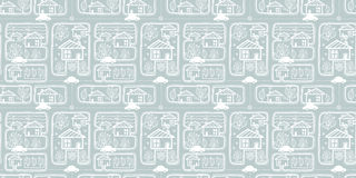 Vector silver grey doodle town streets seamless texture repeat pattern bacgkround design. Great for springtime greeting Stock Image