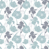 Vector silver grey poppies and tulips floral seamless repeat pattern background. Great for wedding or bridal shower Stock Photos