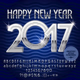 Vector silver Happy New Year 2017 greeting card. With set of letters, symbols and numbers. File contains graphic styles Royalty Free Stock Photography
