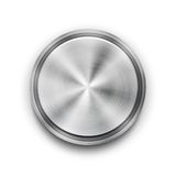 Vector silver metal textured button. Vector silver circular metal textured button with a concentric circle texture pattern and metallic sheen  overhead view Royalty Free Stock Images