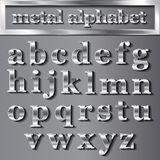 Vector silver metallic letters with shadows on grey background Stock Photo