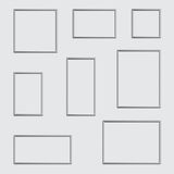 Vector silver photo or picture frame in different proportions and sizes. stock illustration