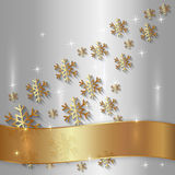 Vector Silver Plate with Snowflakes and Golden Royalty Free Stock Image
