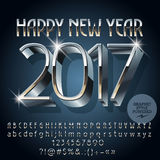 Vector silver shiny Happy New Year 2017 greeting card. With set of letters, symbols and numbers. File contains graphic styles Royalty Free Stock Photography