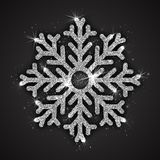 Vector Silver Sparkling Snowflake. With Shimmer Glitter Texture Isolated on Dark Gray Background. Merry Christmas, Xmas, Happy New Year, Noel, Yule Holidays Royalty Free Stock Image