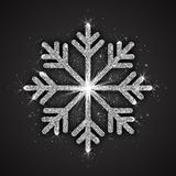 Vector Silver Sparkling Snowflake. With Shimmer Glitter Texture Isolated on Dark Gray Background. Merry Christmas, Xmas, Happy New Year, Noel, Yule Holidays Royalty Free Stock Photos