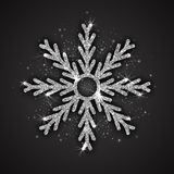 Vector Silver Sparkling Snowflake. With Shimmer Glitter Texture Isolated on Dark Gray Background. Merry Christmas, Xmas, Happy New Year, Noel, Yule Holidays Royalty Free Stock Images