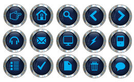 Vector silver web site icons. Items in the set are a good fit to be used in web apps considering there are icons of actions, charts, comments, devices, social Royalty Free Stock Photo