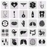 Vector simple black medical icon set. Vector simple organ black medical icon set Royalty Free Stock Photography
