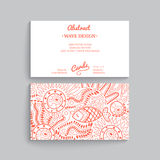 Vector simple  business card template with decorative ornament, Royalty Free Stock Image
