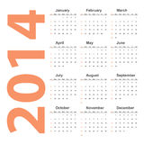 Vector simple 2014 Calendar. EPS10 Stock Images