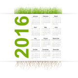 Vector simple calendar 2016 year. Grass style. Stock Photo
