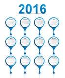 Vector simple calendar 2016 year. Stock Photography