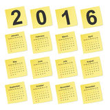Vector simple calendar 2016 year on yellow stick notes. Royalty Free Stock Images