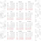Vector simple de 2015 calendarios horizontal ilustración del vector