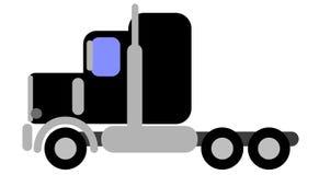 Vector simple de un camión americano de la clase 8 negros imagen de archivo
