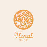Vector simple and elegant logo design template. In trendy linear style - abstract emblem for floral shops or studios, wedding florists, creators of custom Royalty Free Stock Photography