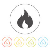 Vector simple fire icon. Pictogram of a flame Stock Image