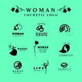 Vector simple flat cosmetic logo template collection. Royalty Free Stock Photo
