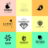 Vector simple flat cosmetic logo template collection. Royalty Free Stock Images