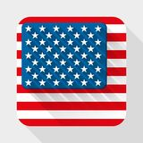 Vector Simple flat icon with USA flag. Royalty Free Stock Images