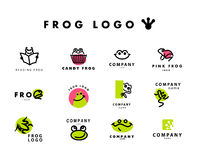 Vector simple flat logo with frog character. Stock Image