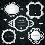Vector simple framework in Victorian style. Element for design. You can place the text in an empty frame. It can be used for decorating of invitations Stock Photos