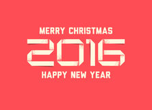 Vector simple Happy new year card 2016 Royalty Free Stock Photography