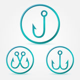Vector simple hook icons set Royalty Free Stock Images