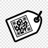 Vector Simple Icon White Rectangle Tag With Fake QR Code, At Transparent Effect Background Stock Images