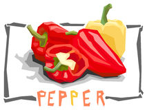 Vector simple illustration of bell peppers. Royalty Free Stock Photos