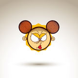 Vector simple illustration of cartoon angry girl  on whi Stock Image