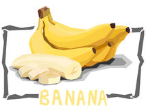 Vector simple illustration of fruit bananas. Royalty Free Stock Image