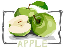 Vector simple illustration of fruit green apples. Stock Image