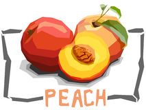 Vector simple illustration of fruit peaches. Royalty Free Stock Photography