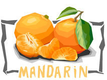 Vector simple illustration of fruit tangerines. Royalty Free Stock Photos