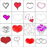 Vector simple illustration hearts set, baloons, embroidery, black and white hand drawn. Seamless pattern. Set of greeting cards, icons, emoji and smilies on Royalty Free Stock Photography