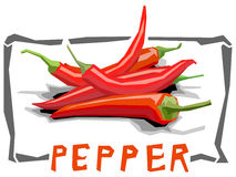 Vector simple illustration of hot peppers. Royalty Free Stock Photography