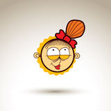 Vector simple illustration of smiling girl  on white bac Royalty Free Stock Photography