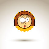 Vector simple illustration of surprised girl isolated on white b Royalty Free Stock Photo