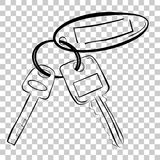 Vector simple line art sketch of house / building key pad lock key and oval tag. Simple line art sketch of house / building key pad lock key and oval tag stock illustration