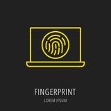 Vector Simple Logo Template Fingerprint. Logo or label fingerprint. Line style logotype. Easy to use fingerprint template. Vector abstract sign or emblem Stock Photography